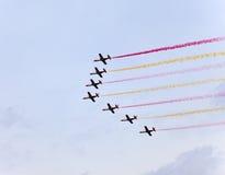 Pokaz lotniczy w niebie Obrazy Royalty Free