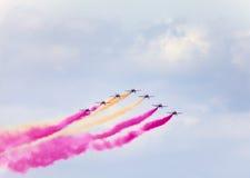 Pokaz lotniczy w niebie Zdjęcia Royalty Free