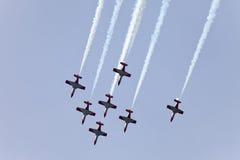 Pokaz lotniczy w niebie na Maju 9, 2010 w Barcelona, Hiszpania Obrazy Royalty Free