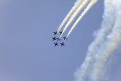 Pokaz lotniczy w niebie na Maju 9, 2010 w Barcelona, Hiszpania Zdjęcia Stock