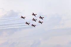 Pokaz lotniczy w niebie na Maju 9, 2010 w Barcelona, Hiszpania Obrazy Stock