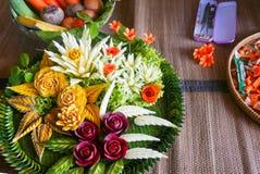 Pokaz rzeźbiący warzywa w Tajlandia fotografia stock