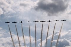 Pokazu Lotniczego 9 płaska formacja Obraz Stock