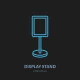 Pokazu stojaka linii ikona Reklamowa wystawa, promocyjny projekta element Handlowy przedmiota mieszkania znak Zdjęcie Stock