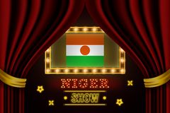 Pokazuje czas deskę dla występu, kino, rozrywka, ruleta, grzebak Niger kraju wydarzenie Ol?niewaj?cy ?ar?wka rocznik ilustracji