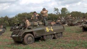 Pokazuje dla reenactment ww2 amerykanina pojazdy wojskowi zbiory wideo