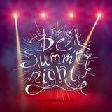 Pokazuje tło Najlepszy lato nocy muśnięcia pisma stylu ręki literowanie Dymiącej wektorowej sceny wewnętrzny jaśnienie z światłem Obraz Royalty Free