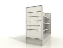 Pokazów elementy wyposażenia z deseczek półkami i ścianą Zdjęcia Stock