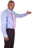 Pokazywać coś biznesowy Amerykanin afrykańskiego pochodzenia mężczyzna Zdjęcia Stock