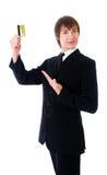 pokazywać kredytowy wizytówka mężczyzna Obrazy Stock