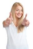 Pokazywać aprobaty rozochocona kobieta Obraz Stock