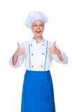 Pokazywać aprobaty uradowany szef kuchni Obraz Royalty Free