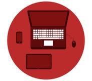 Pokazywać na komputerowym biurku Fotografia Stock