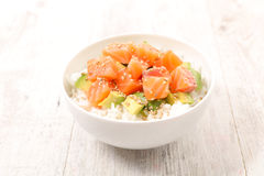 Poke bowl,chirashi. Close up on poke bowl,chirashi Stock Images
