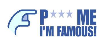 Poke me i'm famous. Logo with blue hand Royalty Free Stock Image