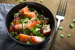 Poke with salmon and avocado stock photography