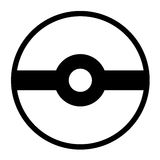 Pokeball logo odizolowywający na białym tle ilustracja wektor
