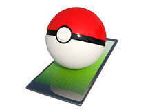 Pokeball on a smartphone isolated on white background. Stock Photography