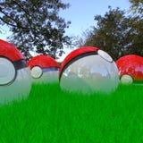 Pokeballs realistas 3d Imagenes de archivo