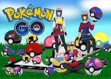 Pokemon идет иллюстрация вектора