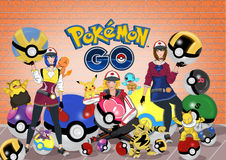 Pokemon идет иллюстрация штока