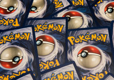 Pokemon cards. Pile, background image Stock Photo
