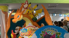 Pokemon figure at the entrance of the Pokemon Center store in Sunshine City shopping mall in Tokyo, Japan. Tokyo, Japan - August 2018: Pokemon figure at the royalty free stock photo