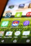 Pokemon går app Arkivfoton