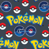 Pokemon går med den sömlösa modellen för bollar stock illustrationer