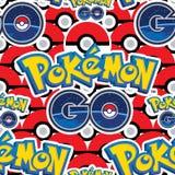 Pokemon gehen nahtloses Muster vieler Bälle lizenzfreie abbildung