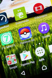Pokemon Go App. VELIKA GORICA, CROATIA- JULY 15, 2016 : Macro close up image of Pokemon Go game app icon among other icons on a smartphone device. Pokemon Go is Stock Images