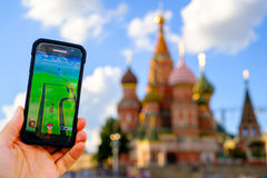 Pokemon Go application in Moscow, Russia Royalty Free Stock Images