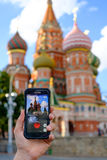 Pokemon Go application in Moscow, Russia Stock Photo