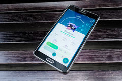 Pokemon Go application on the smartphone Royalty Free Stock Photo
