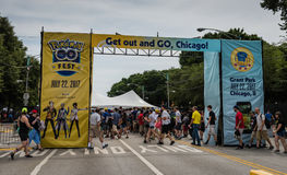 Pokemon Go Fest - Chicago, IL. The first ever Pokémon Go Fest set in Chicago, Illinois to celebrate the one-year anniversary of the mobile video game, gets stock photos
