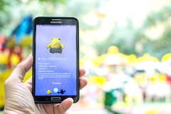 Pokemon Go gameplay screenshot on the phone. Stock Images