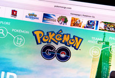 Pokemon Go home page on a monitor Royalty Free Stock Photo