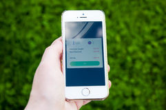 Pokemon Go on iPhone. TRIM, IRELAND - JULY 18, 2016: Apple iPhone 5s held in one hand showing screen with Pokemon Go app. Pokémon Go is a popular location-based Royalty Free Stock Photography