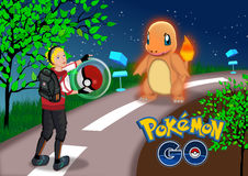Pokemon go. Location based online game illustrations. A game  concept royalty free stock photo
