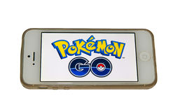 Pokemon Go logo on a smartphone. Pokemon Go is a free-to-play augmented reality mobile game developed by Niantic for iOS and Android devices Royalty Free Stock Photography
