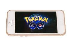 Pokemon go on the mobile phone Stock Image