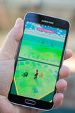 Pokemon Go. Roseville, CA - July 10: An Android user plays Pokemon Go, a free-to-play augmented reality mobile game developed by Niantic for iOS and Android Stock Photography
