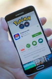 Pokemon Go. Roseville, CA - July 10: An Android user prepares to install Pokemon Go, a free-to-play augmented reality mobile game developed by Niantic for iOS Royalty Free Stock Photography