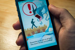 Pokemon Go Warning Royalty Free Stock Images