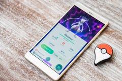Pokemon iść wydarzenia Mewtwo najazdu szef catched pokemon trenerem w Japan wydarzeniu Uwalnia legendarnego pokemon dla gracza ła obraz stock