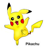 Pokemon Pikachu. Isolated image of Pikachu, a popular character from the Pokemon Cartoon Series and Pokemon Go Game Royalty Free Stock Photography
