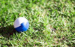 Pokemon plastic ball green grass. Closeup pokemon plastic ball on green grass stock photos
