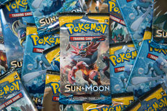 Pokemon Sun and moon edition booster packs. Bratislava, Slovakia, circa april 2017: Pokemon Sun and moon edition booster packs with different pictures in the royalty free stock images