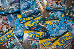 Pokemon Sun and moon edition booster packs. Bratislava, Slovakia, circa april 2017: Pokemon Sun and moon edition booster packs with different pictures in the stock images