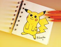 Pokemon tecken Pikachu Fotografering för Bildbyråer
